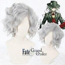 Игра косплей парик FGO Fate Grand Order Monte cresto Edmond Dantes косплей парик короткие кудрявые Серые Серебряные синтетические волосы для взрослых