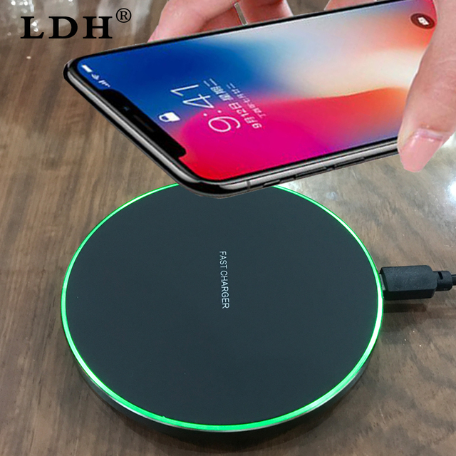 LDH Qi Wireless Charger 10W For iPhone X 8 Samsung Note 8 S8 Plus S7 S6 Edge Phone Fast Wireless Charging Pad