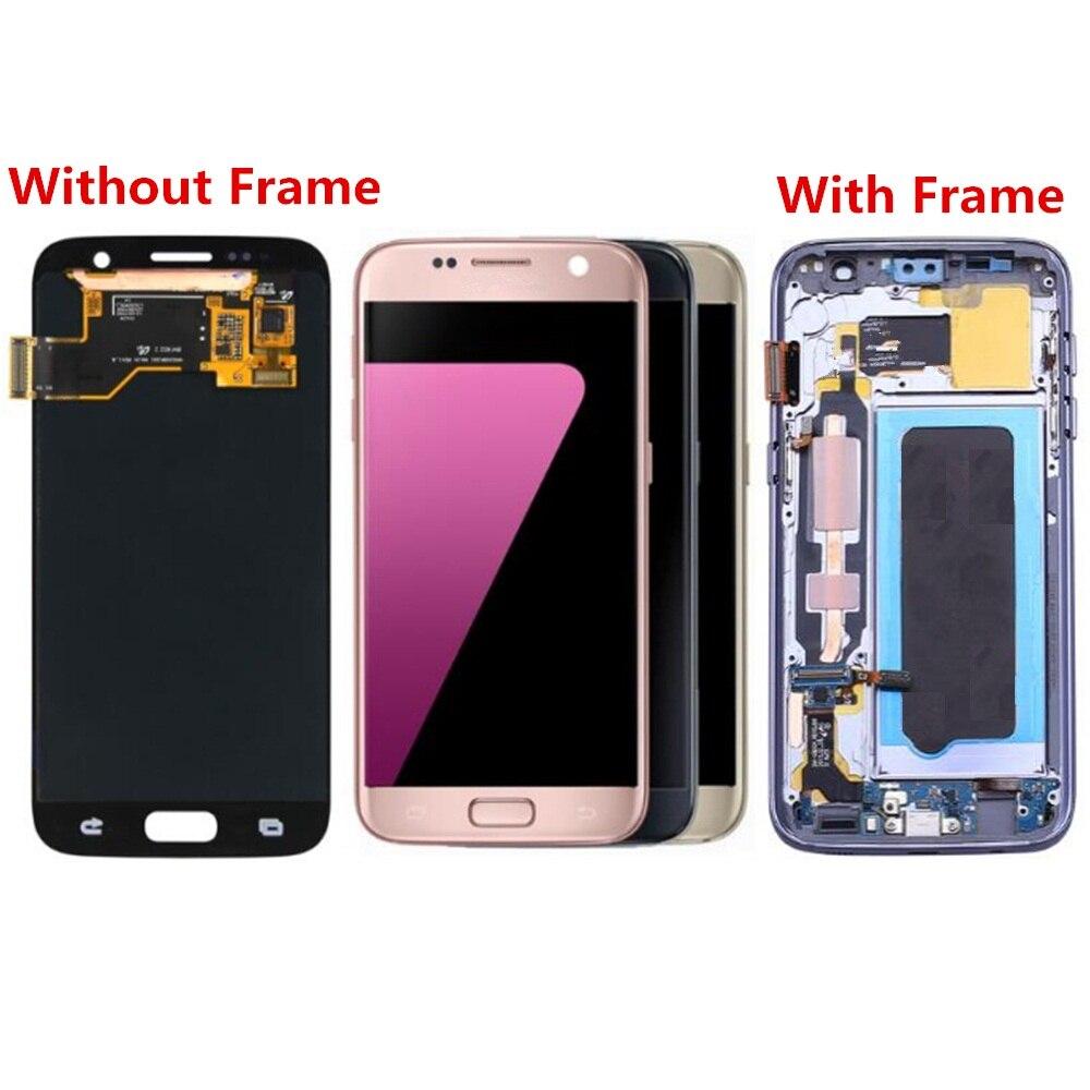 Pour écran LCD et numériseur Samsung Galaxy S7 G930 G930F avec remplacement du boîtier avant! (noir/blanc/or/argent)