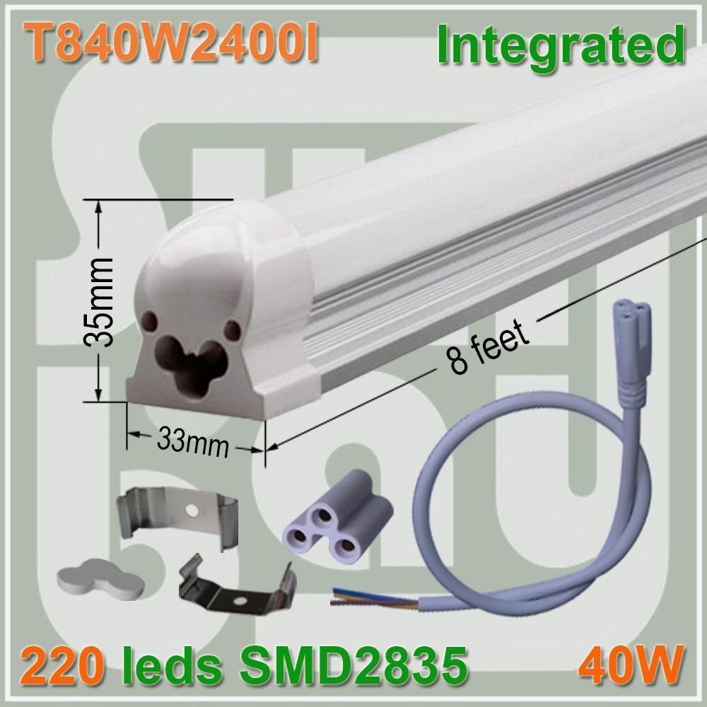 4pcs lot T8 font b LED b font font b tube b font 2 4m 240cm