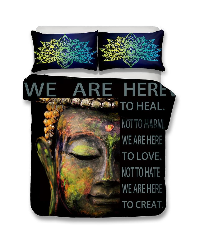 Buda conjunto de cama mandala colcha capa