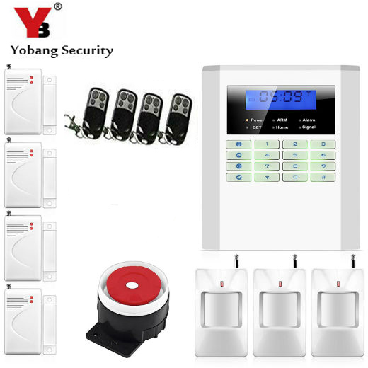 YobangSecurity English Russian Spanish Voice Home Security Wireless Wired PSTN GSM Alarm System LCD Keyboard 433MHz Door Sensor