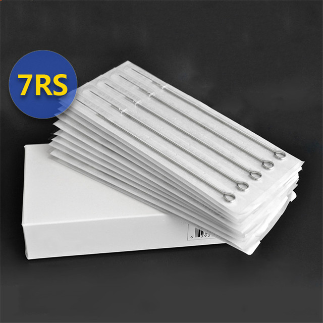 Permanent Makeup 50Pcs/Box 7RS Disposable Sterile Tattoo Needles For Tattoo Gun Machine Grip Tube Kit Sets Tattoo Supplies