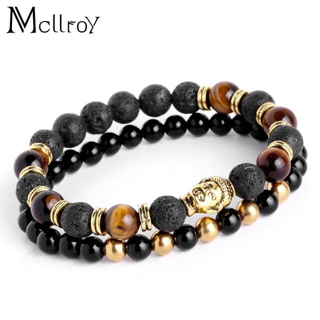 Voorkeur Mcllroy Heren Armbanden Lava boeddha armband Voor Mannen @CO59