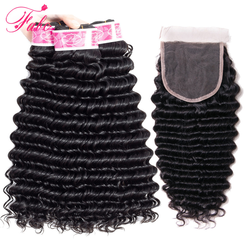 FABC Hair deep wave bundles with closure brazilian hair weave bundles non remy human hair 3