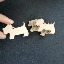 50pcs Blank Unfinished Wooden Scottie Dog Party Decorations Christmas Tree Hanging Ornaments DIY Crafts Scrapbooking Gift Tags(China)