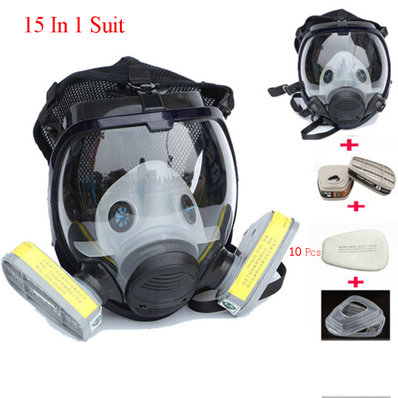 15 In 1 Suit Full Face Respirator Mask Painting Spraying Safety Gas Mask For Chemcial Industry Anti-Acid Dust Flitter Cartridge