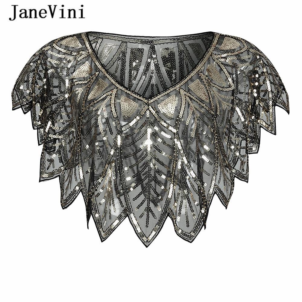 JaneVini Elegant Black Gold Bolero Sparkle Sequined Bridal Wraps Beaded Wedding Cape Shawls Cloak For Evening Party Accessories