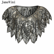 JaneVini Elegant Black Gold Bolero Sparkle Sequined Bridal Wraps Beaded Wedding Cape Shawls Cloak for Evening Party Accessories
