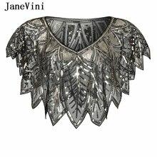 JaneVini Elegante Schwarz Gold Bolero Sparkle Pailletten Braut Wraps Perlen Hochzeit Cape Schals Mantel für Abend Party Zubehör