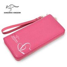 Kangaroo Kingdom Fashion Women Wallets Genuine Leather Long Wallet Brand Lady Clutch Purse