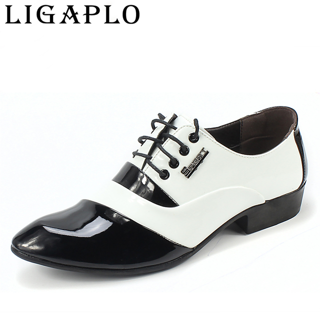 Men's PU Leather Fashion Men Shoes  Men Dress Shoes White Black Male Soft  Wedding Oxford Shoes Lace-Up Formal Dress Shoes