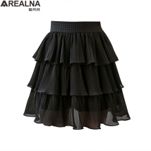 цена на skirts womens 2020 summer Mini Cake Skirt Women Black white sexy Short Skirt High Waist Ruffled Vintage Tiered pleated skirt