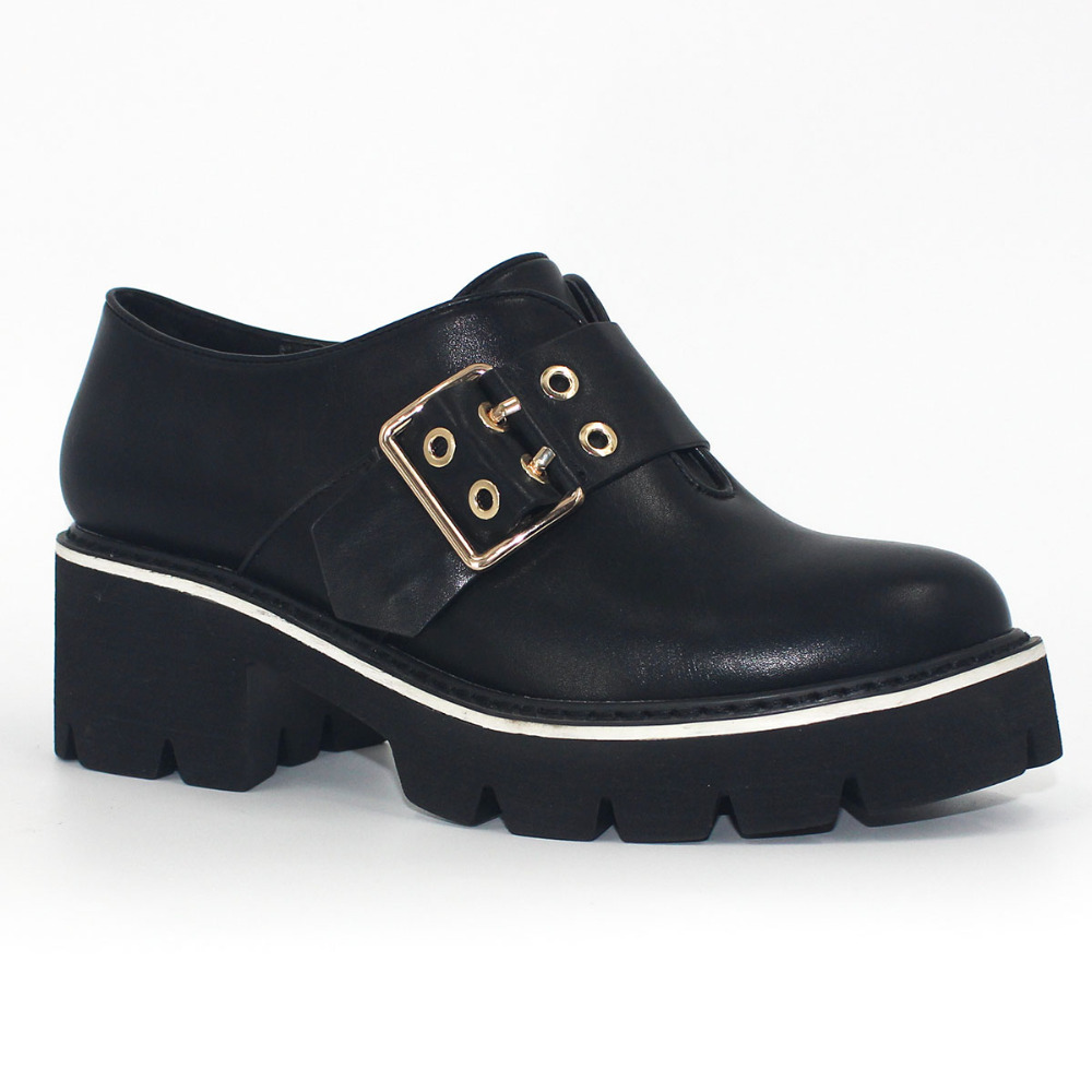 Punk Shoes Buckles Women High Heel Black Slip On Pumps Wedges Metal Decoration Elevator Shoe Spring Autumn PU Angelic Imprint gartt 500 pro metal main rotor head assembly fits align trex 500 helicopter hobby