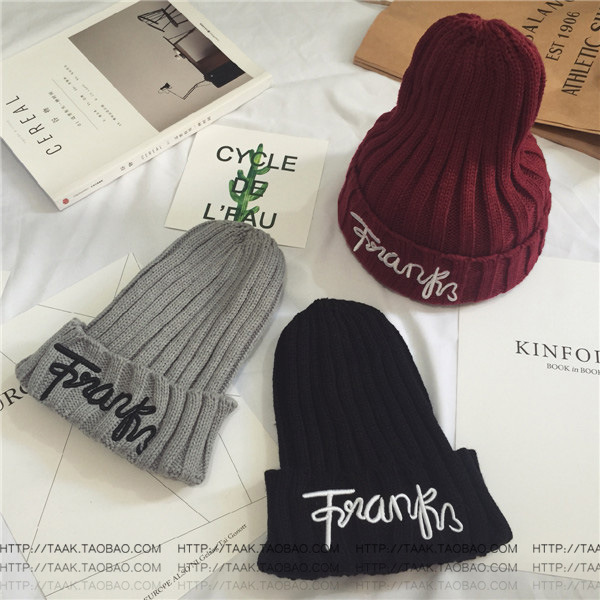 Kesebi 2017 New Hot Fashion Autumn Winter Women Embroidery Letters Knitting Warm Skullies Beanies Female Casual Simple Caps Hats