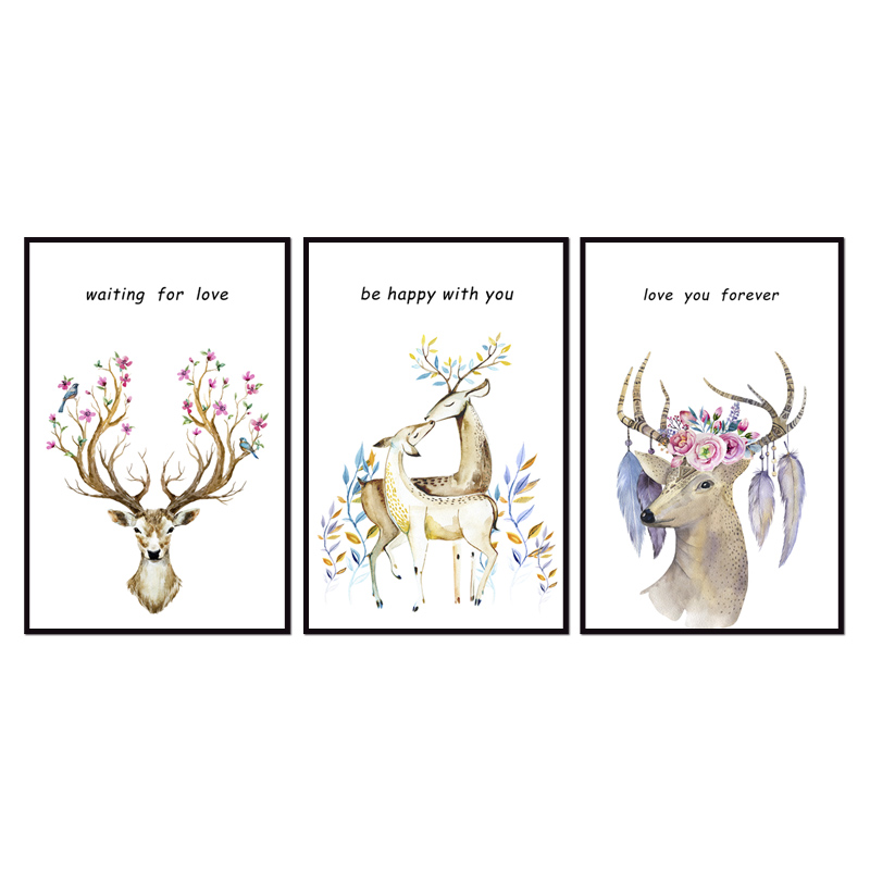 Factory wholesale (No Framed) Modern elk series Canvas Print On Canvas Printing Wall Pictures 12YM-A-587