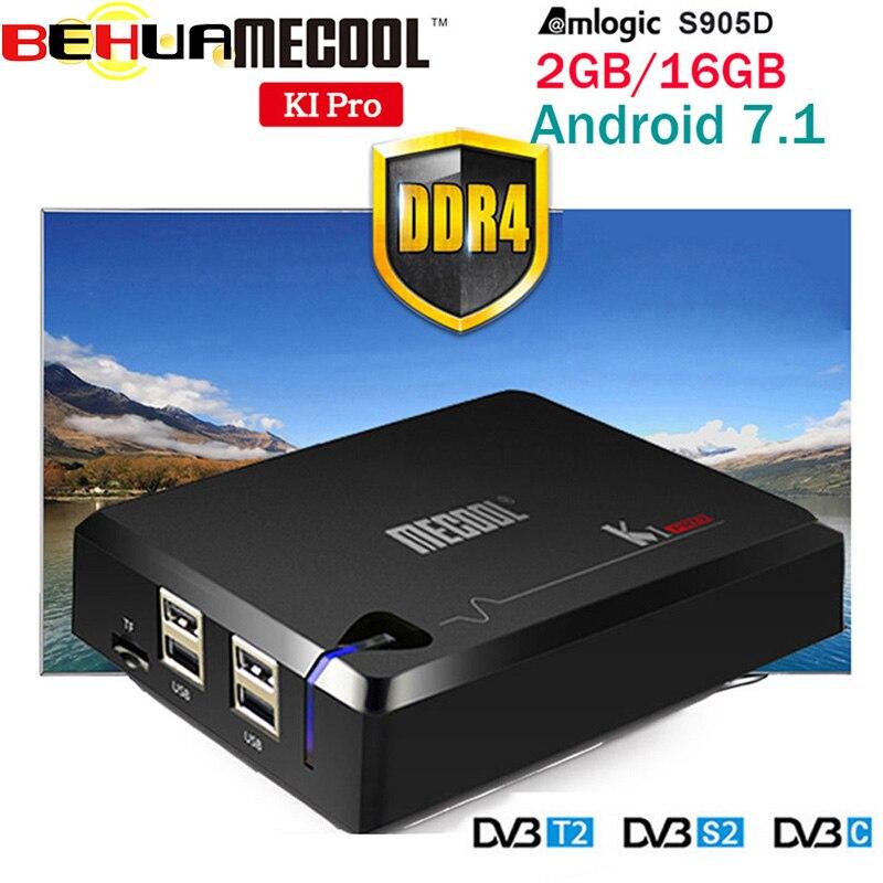 Boîtier TV MECOOL KI PRO KI PRO S2 avec prise en charge T2 DVB Amlogic S905D Quad 2G + 16G boîtier TV Android DVB-T2 & S2/DVB-T2/DVBS2