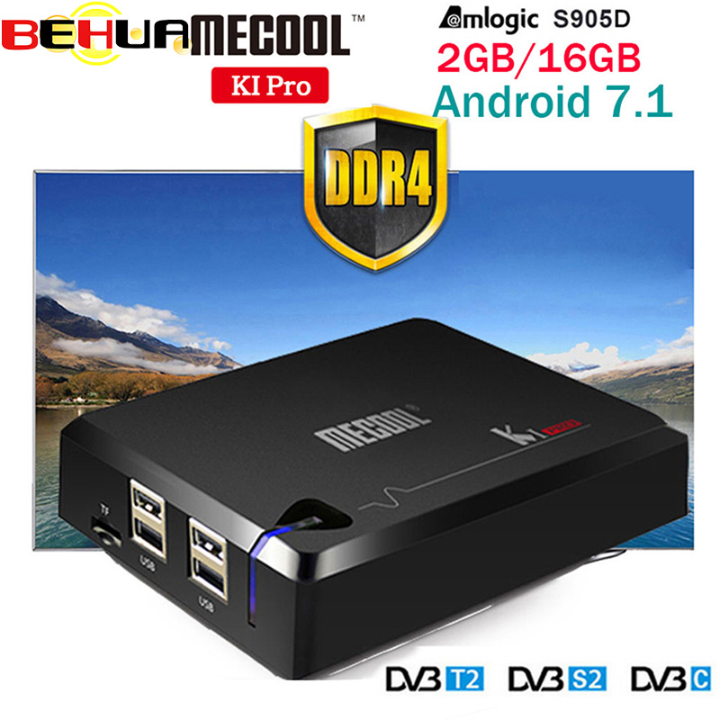 MECOOL KI PRO DVB Android 7.1 smart TV Box DVB-T2/DVB-S2/DVB-C Amlogic S905D Quad 2GB+16GB Support Set Top Box 7Cline PK KII PRO