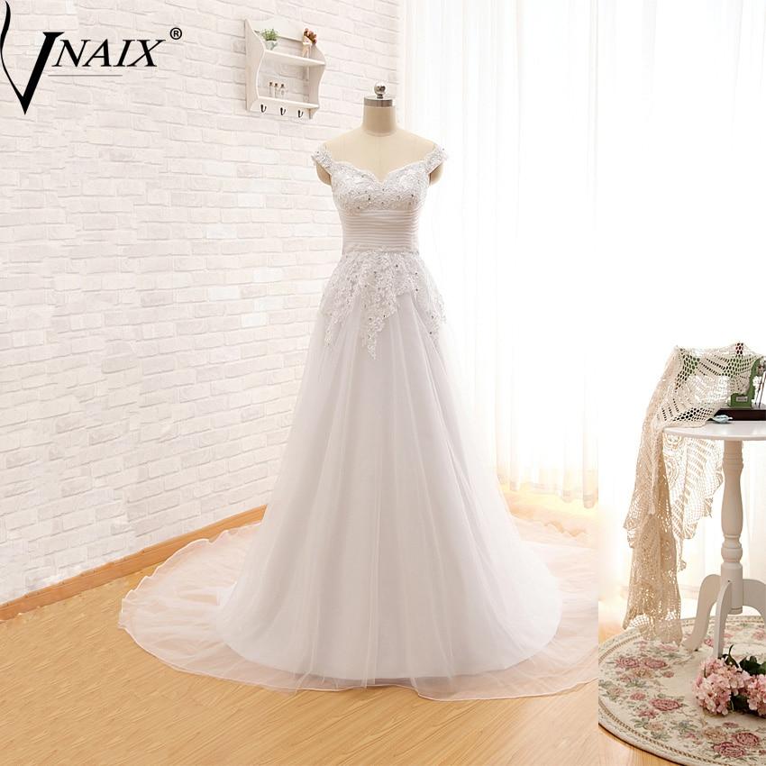 Vnaix W1179 Wedding Dresses With Lace Beading And Pleat Organza A Line Vestido De Novia Customized Plus Size