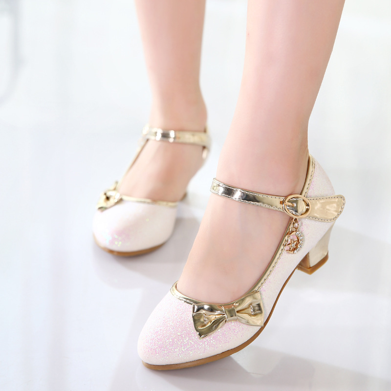 Image 2 - Children Princess Sandals Kids Girls Wedding Shoes High Heels Dress Shoes Bowtie Gold Shoes For Girls party shoe kids giftLeather Shoes   -