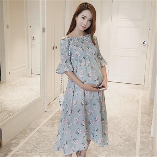 ebbffe2bf Maternidad vestido para las mujeres embarazadas ropa vestido de verano moda vestido  para embarazadas largo Vestidos