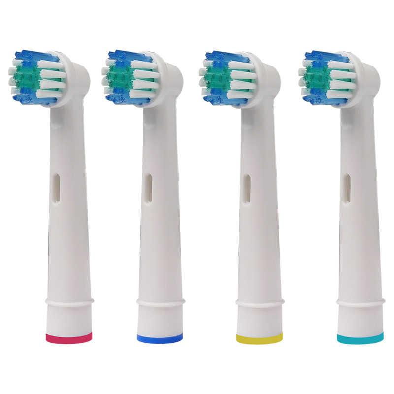 4 sztuk Oral B części zamienne do elektrycznej szczoteczki do zębów głowy kompatybilny dla Braun wrażliwe czyszczenie/Vitality/PRO zdrowia szczotka do zębów SB-17A