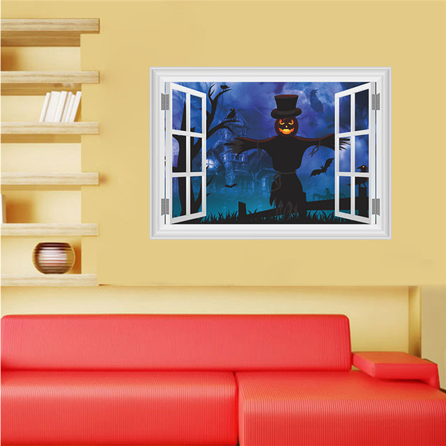 Faroot 3D VIvid New Hot Home Room Decor Halloween Scarecrow Art Wall Decal Stickers Bedroom Removable