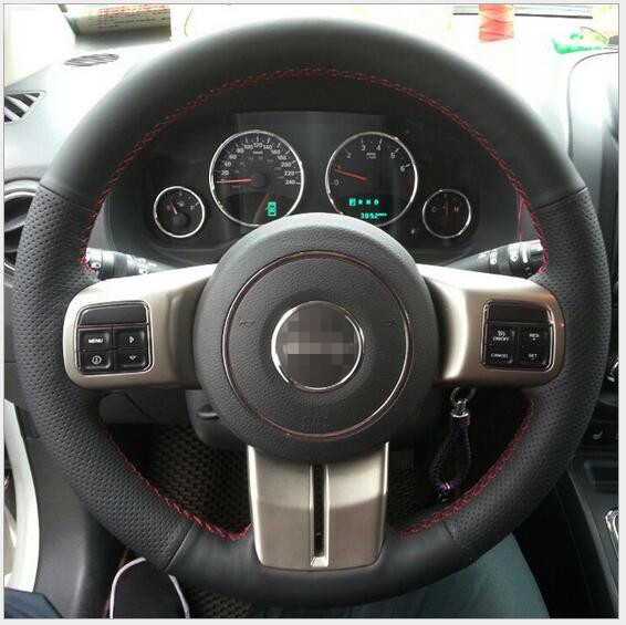 Black Hand-stitched Car Steering Wheel Cover for JEEP patriot wrangler compass Custom special car handle