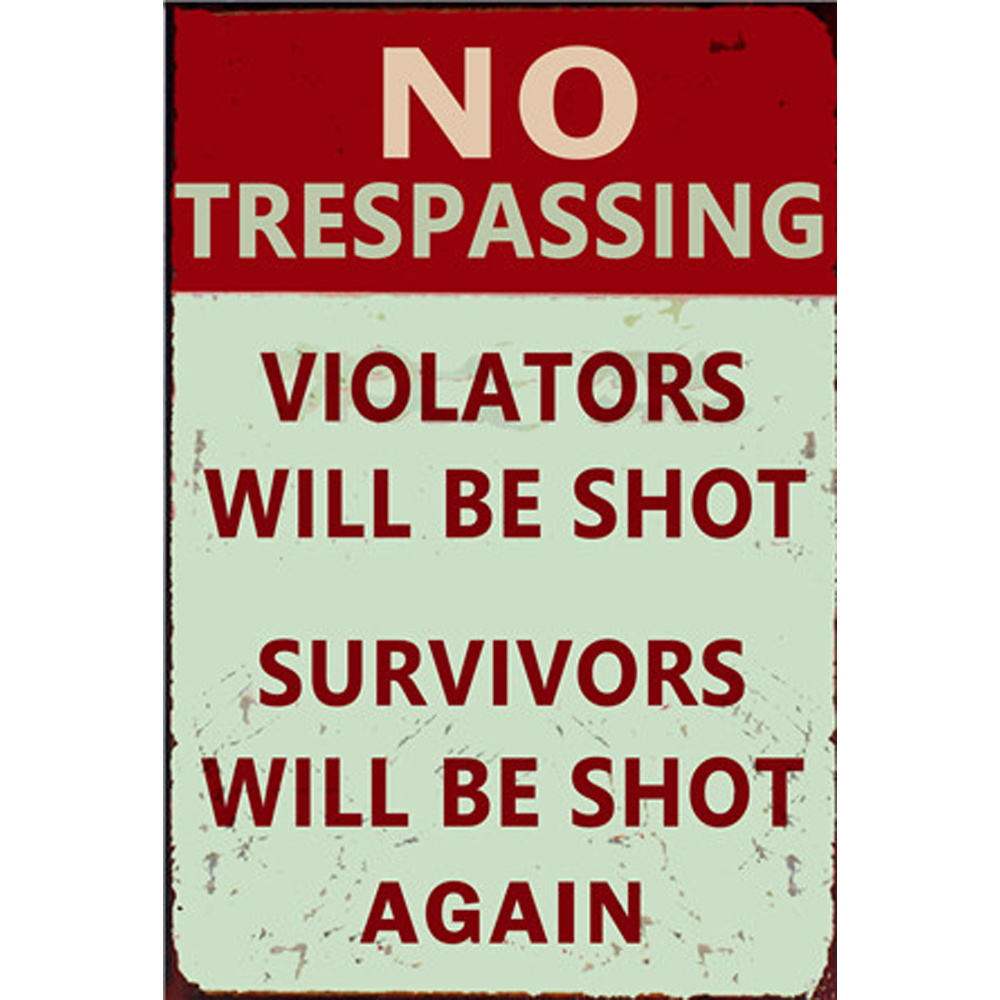 No Trespassing Metal Sign Bar Wall Decoration Tin Sign Vintage Metal Poster Home Decor Painting Plaques Q001 371 30x20cm in Plaques Signs from Home Garden