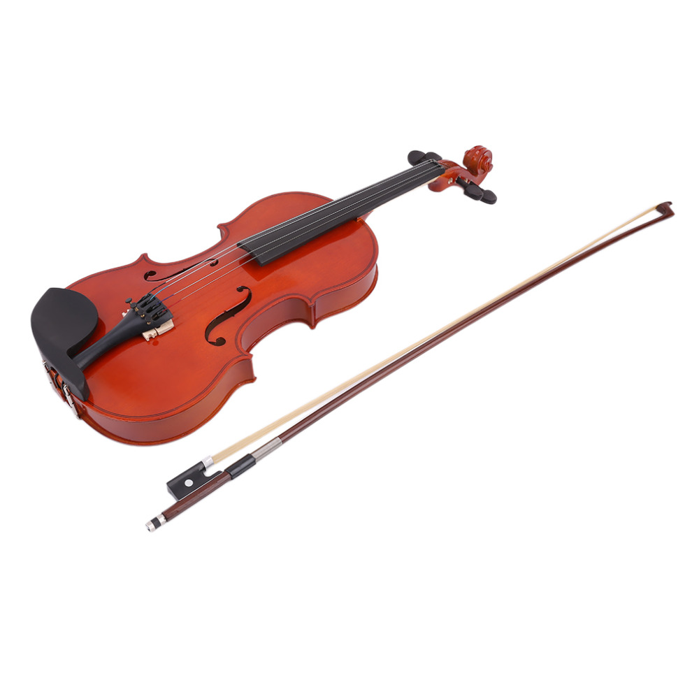 4/4 High Grade Full Size Solid Wood Natural Acoustic Violin Fiddle With Case Bow Rosin Professional Musical Instrument full size 4 4 solid basswood electric acoustic violin with violin case bow rosin parts accessories for musical instruments lover