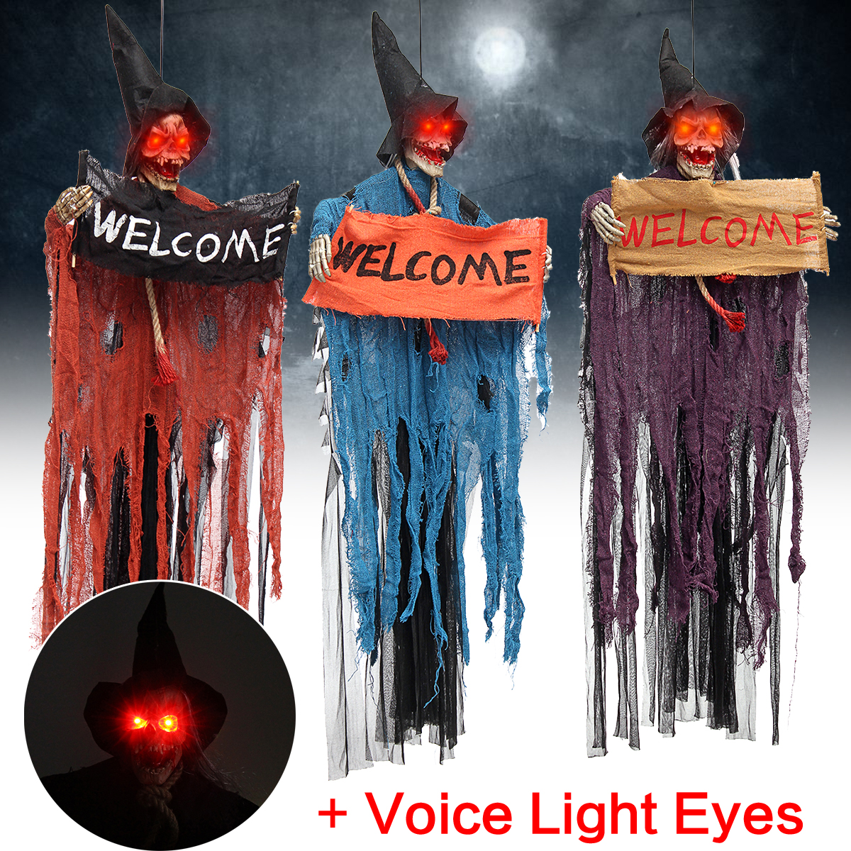 US $15 84 17% OFF|Halloween Prop Electric Voice Hanging Skull Skeleton  Ghost Welcome Sign Halloween Escape Horror Props Haunted House  Decoration-in