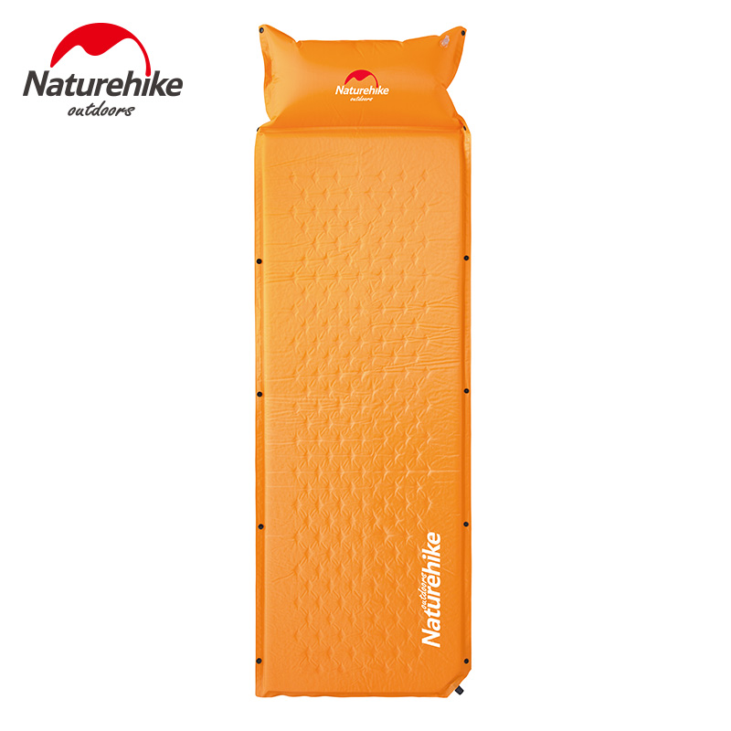 Naturehike Self inflating Camping Mat With Pillow 3 Colors Moisture proof 1850x600x25mm Tent Bed Single Laybag