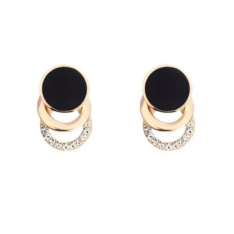 2019 Fashion Stud Earrings Korea Black Gold Color Round Metal 3 Layer Crystal Earrings for Women Rhinestone Bridal Jewelry EB113