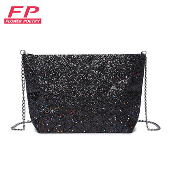 New Geometry Laser Handbag Bags Women Chain Bag Tote Lightnig Luminous Women Shoulder Bags Plain Folding Messenger Bag Bolso image