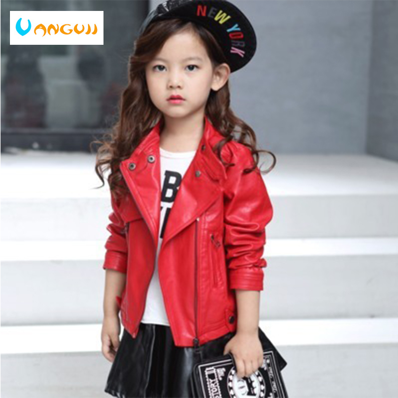 children's pu jacket Girls motorcycle jacket kid outwear Turtleneck zipper long sleeve Casual spring Autumn fashion red black laundry by shelli segal new red long sleeve zipper jacket 2 $149 dbfl