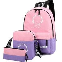 Brand Backpack Set Girl Luminous Women Backpacks Nylon School Bags Fluorescence Backpack For Teenager Book Bag