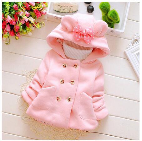 Novo 2016 crianças dos desenhos animados casaco de algodão-acolchoado roupas meninas do bebê do sexo feminino qiu dong roupa com grosso casaco de 0-1-2 anos de idade