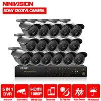 NINIVISION HD 16 каналов 1080 P AHD видеорегистратор комплект видеонаблюдения Открытый sony 1200TVL камер видеонаблюдения Системы 16CH DVR системы