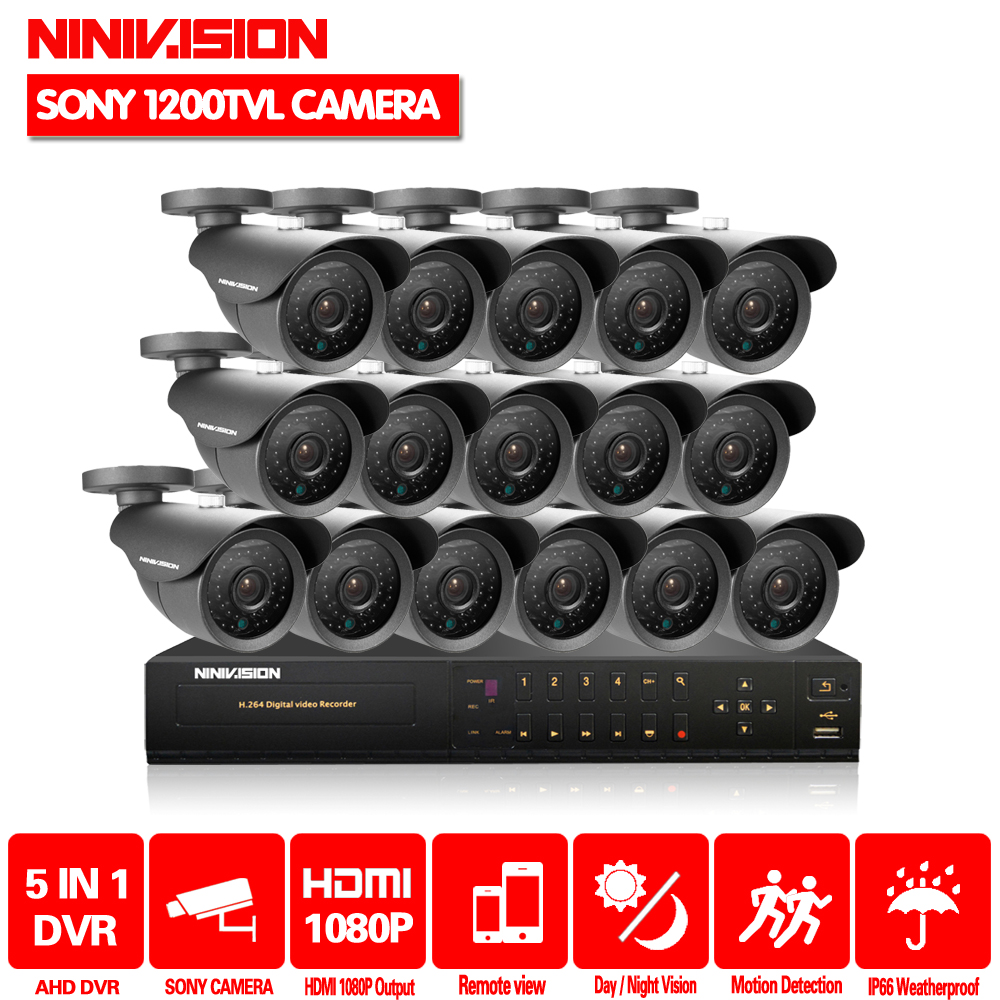 NINIVISION HD 16channel 1080p AHD DVR kit Video surveillance Security outdoor Sony 1200TVL CCTV Cameras System 16CH DVR system