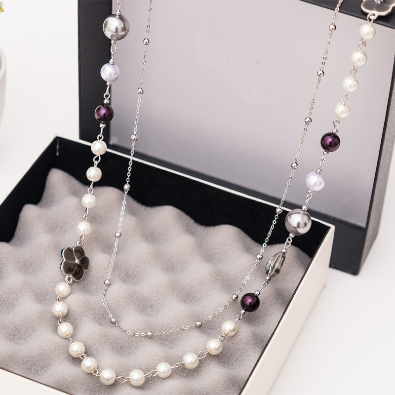2017 New Fashion Simulated Pearl Jewelry Korean Style Double Deck Colorful Beads Long Necklace