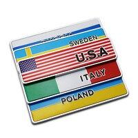 USA UK Italy Sweden EU France Poland Germany Japan S Korea Russia China Square Flag Metal