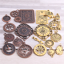 20pcs/lot 4 color Steampunk Clock Charms for Jewelry Making Diy Vintage Metal Zinc Alloy Mixed Clock Pendant Charms H3012-1