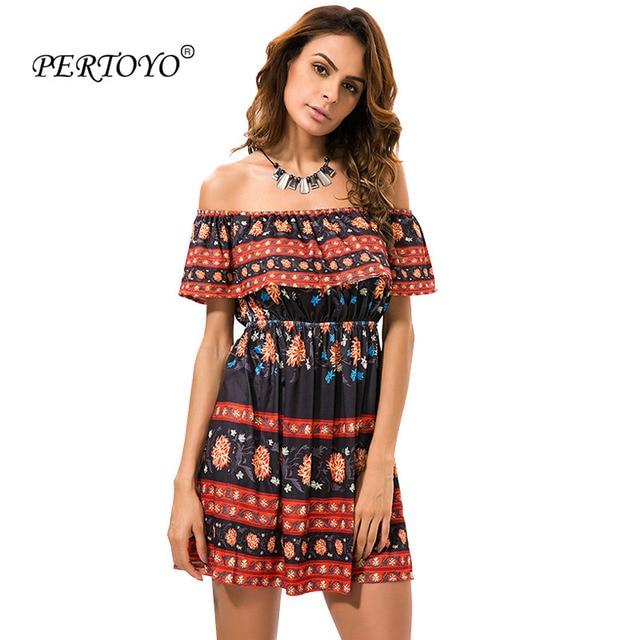 PERTOYO Women Vintage Strapless Dress Off Shoulder Retro Print Sexy Bobo  Summer Dress Casual Plus Size