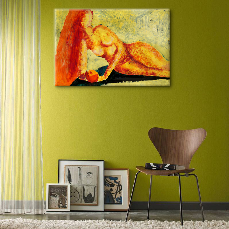 Abstract Acrylic Painting Printing Nude Girl Holding an Apple ...
