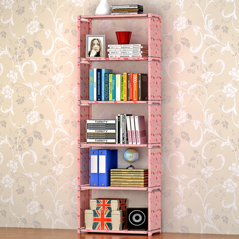 Simple 5-shelf bookshelf Non-woven steel pipe structure Free-assembly bookcase Living room furniture Dust storage shelves 4 layers of simple dust proof moisture proof shoe rack thick non woven stainless steel shoe free assembly of home furniture