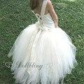Dollbling Diseñador encaje blanco primero cumpleaños rústico chica adolescente vestido de bola de la vendimia de boho vestido de encargo para el comprador D1004