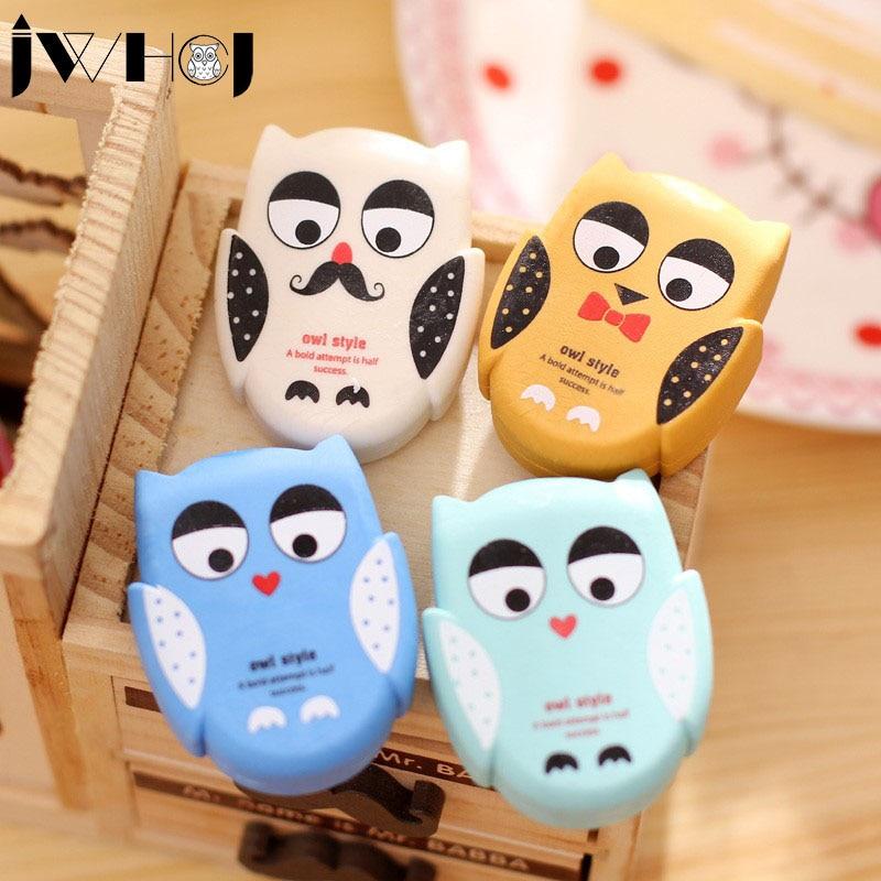 1 X JWHCJ Novelty Cartoon Owl Rubber Eraser Kawaii Creative Stationery School Supplies Papelaria Gift For Kids Free Shipping