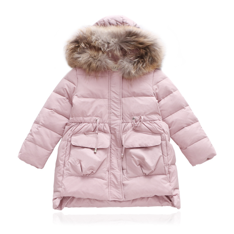 NEW Fashion Baby Thick Fur collar Overalls Winter Jackets For Girls Long Clothes Warm Snowsuit Kids Children down cotton coat lavensey original new children thick cotton turn down collar fashion coats for girl baby clothing free shipping