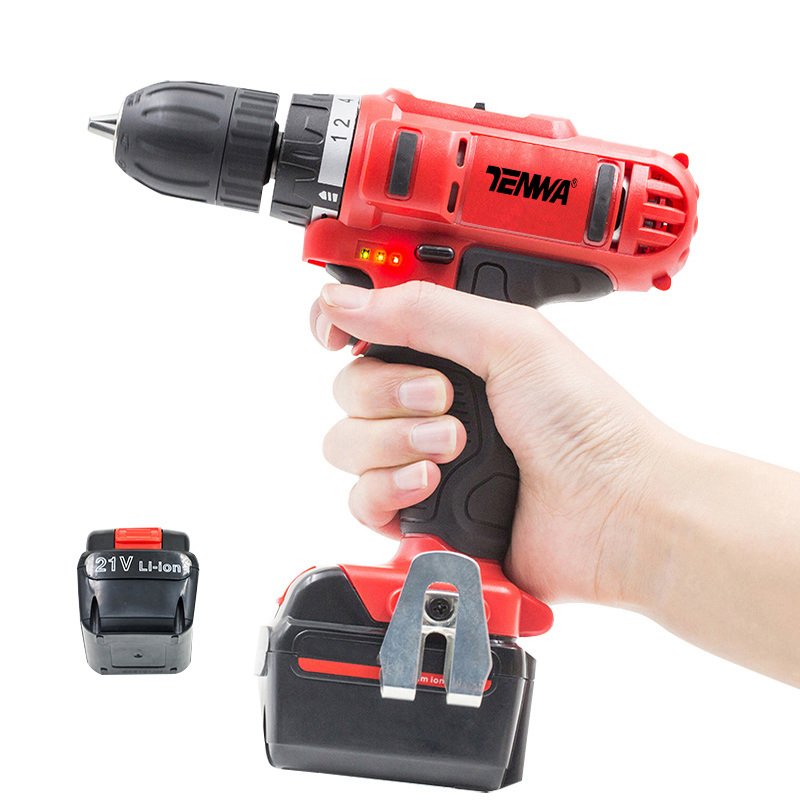 TENWA 21V Cordless Screwdriver 2 Lithium Batteris Electric Drill Power Tool Set With Bits Household DIY Working Tool