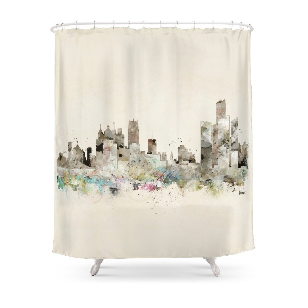 Detroit Michigan Skyline Shower Curtain Set Waterproof Polyester Fabric Bath For Bathroom With Non Slip Floor Mat In Curtains From Home